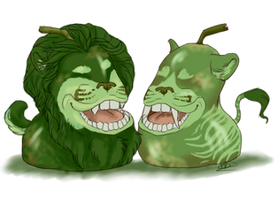 Fuzzy pear and Stripy pear by Thecopperbeast
