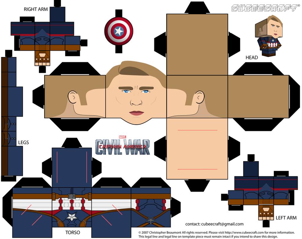 Captain America Cubeecraft by JagaMen