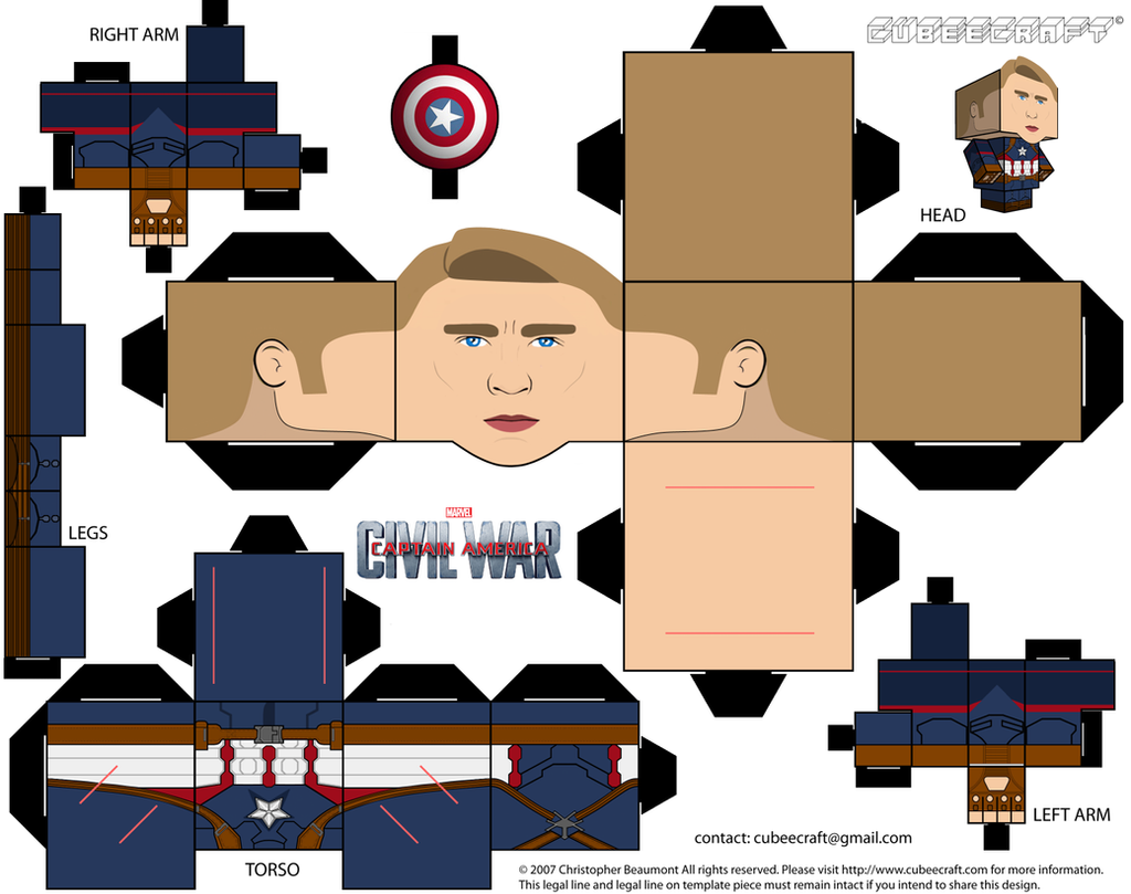 Captain America Cubeecraft By Jagamen On Deviantart