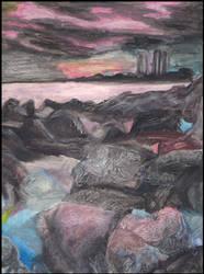 Rocks in Watercolour Pencil by Zhellana