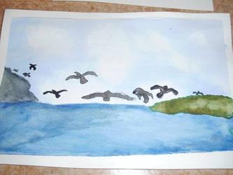 Birds at sea by RWBsmasher