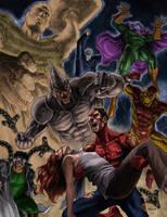 Spiderman vs Sinister Six by SamDelaTorre