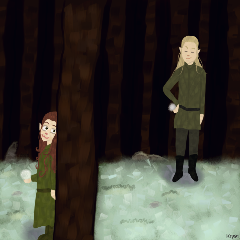 Legolas and Tauriel: Snowball Fight by Krystal91 on DeviantArt
