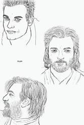 Obi-Wan Kenobi Smiling Sketches by Krystal91