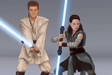 Obi-Wan and Rey - Padawans AU by Krystal91