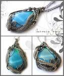 Light blue wirewrapped pendant