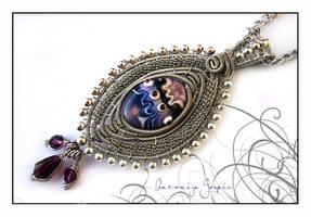 Lampwork wirewrapped pendant by Faeriedivine