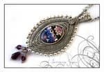 Lampwork wirewrapped pendant