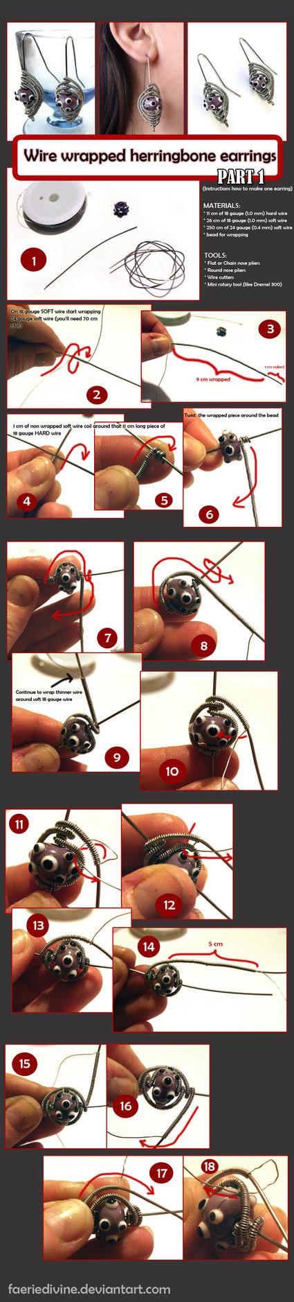 TUTORIAL - Wirewrapped herringbone earrings PT1 by Faeriedivine