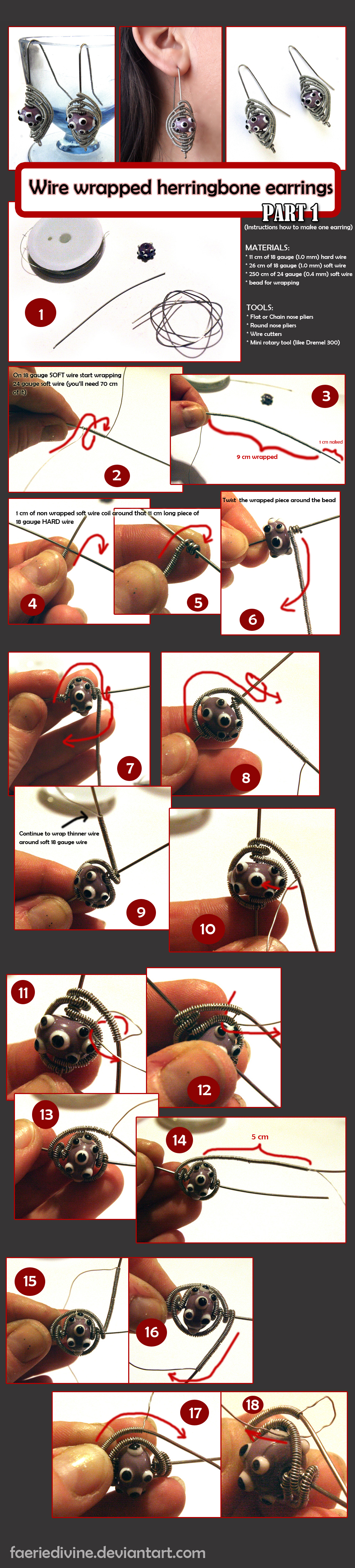 TUTORIAL - Wirewrapped herringbone earrings PT1 by Faeriedivine
