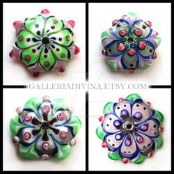 Pink and Green lampwork flower discs