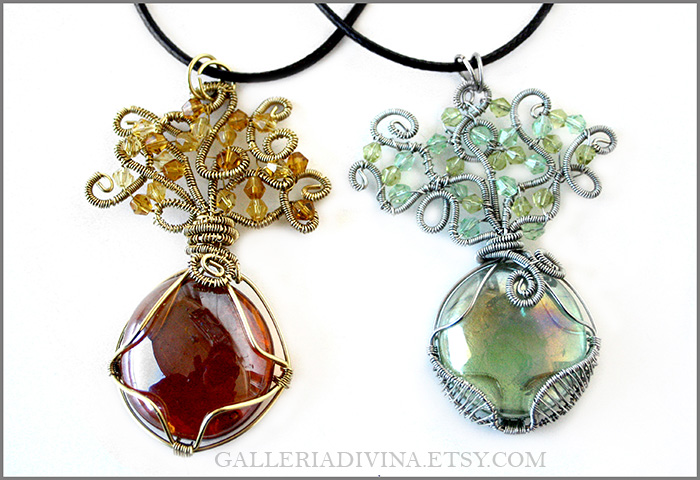 Laurelin and Telperion pendants #2 by Faeriedivine