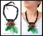 Green leaves mixed media statement necklace