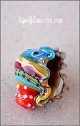 Multicolor blown glass seashell