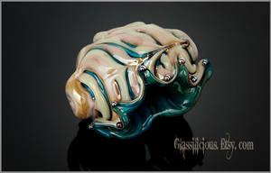 Organic beige golden turquoise seashell by Faeriedivine