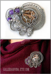 Industrial wire wrapped brooch with amethysts
