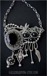 Insectum - Wire wrapped black - dark blue necklace