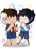 Sketch: Ryouta and Akio Pocky fun by JaredSteeleType