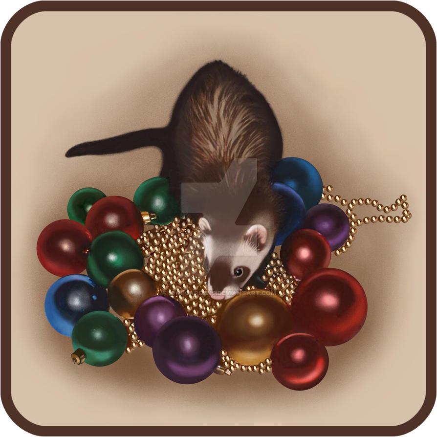 Christmas Ferret by Mindgardens
