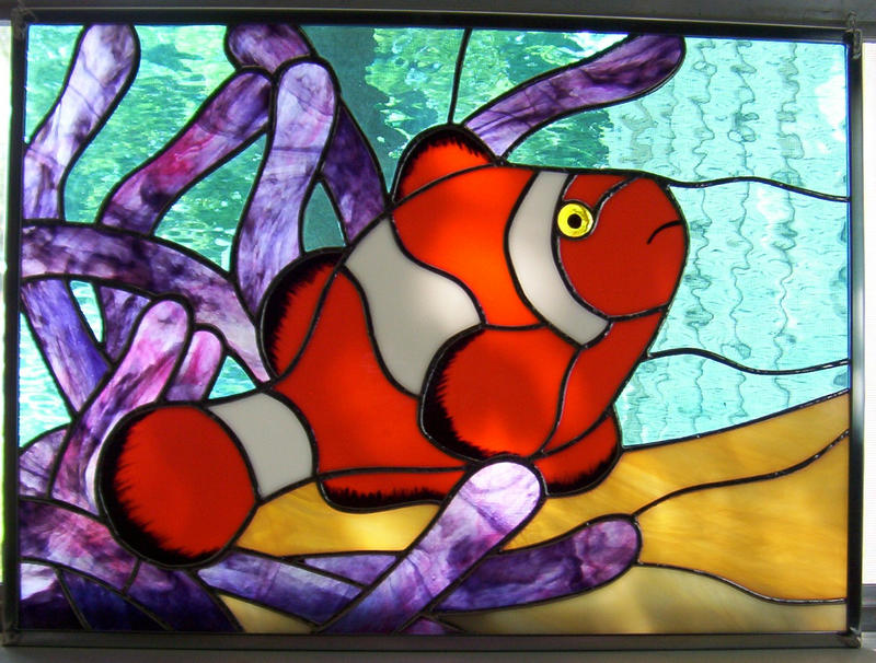 Stained glass clownfish by cindycrowell on deviantart for Stained glass fish