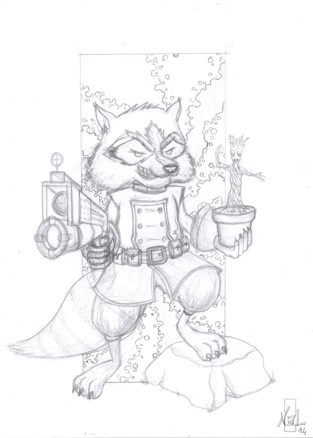 Line Drawing Rocket : Rocket raccoon and groot lineart by tenshiflyers on