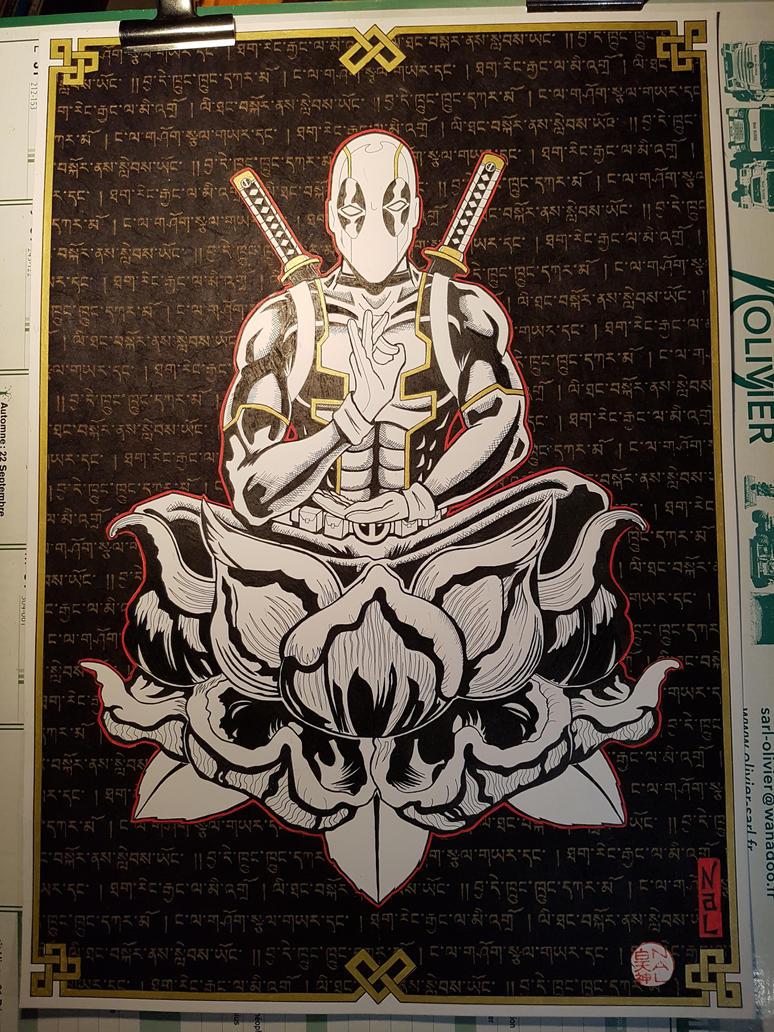 Deadpool buddha by tenshiflyers