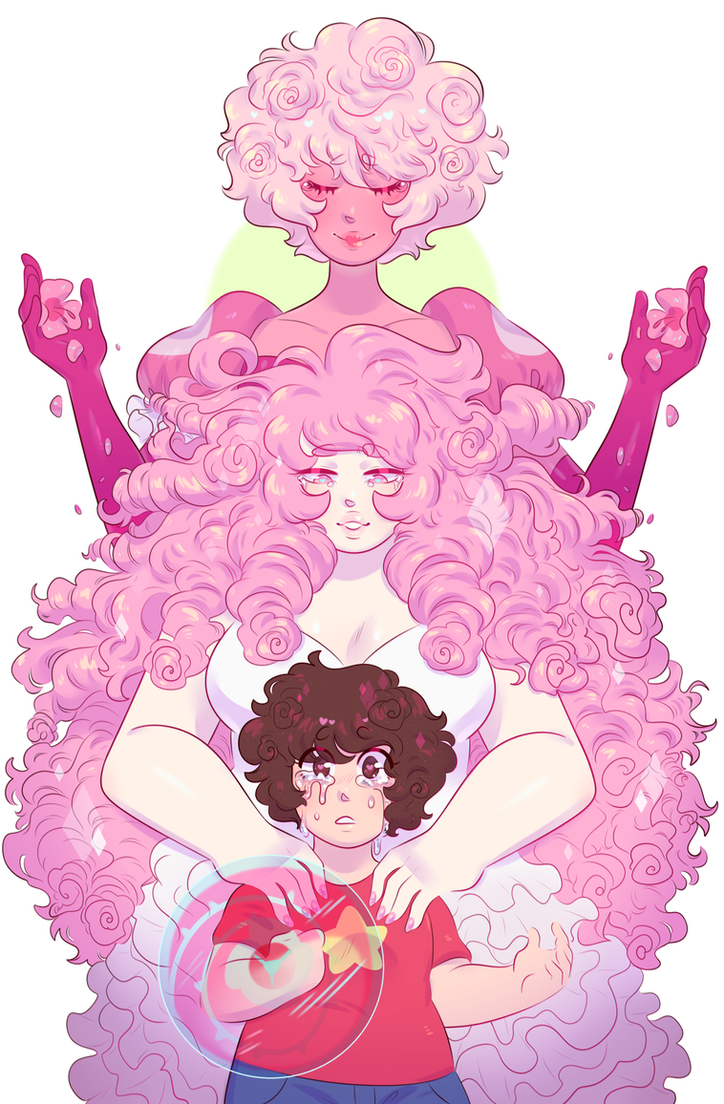 wanted to try out the headcanon that rose / pd have rose curls in their hair and in the process included steven as well… print version available below!! :3c patreon + kofi +&nb...