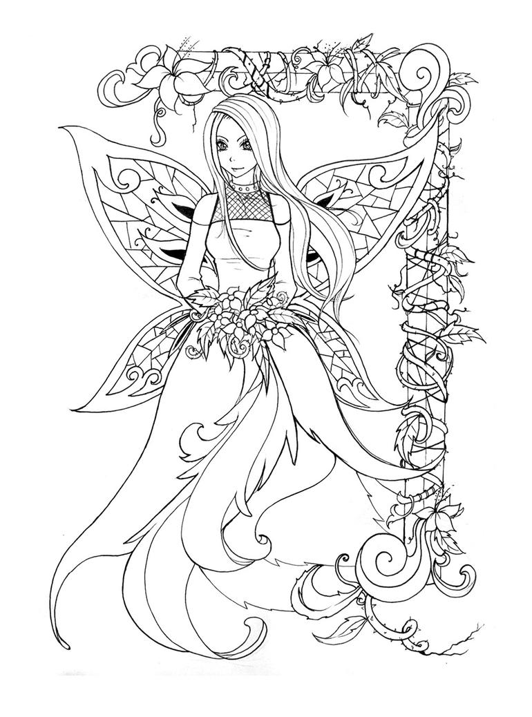 Line Art To Color : Lineart fairy pic by back life on deviantart