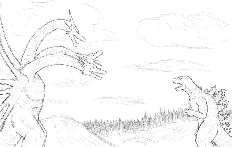 hd wallpapers king ghidorah coloring pages