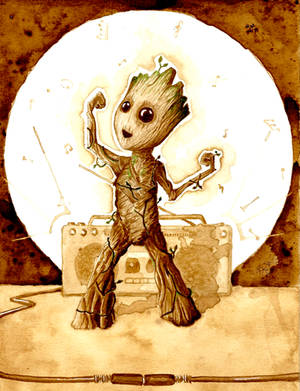 Coffee painting Dancing Groot by Qrby