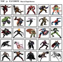 Top 25 Favorite Marvel Superheroes by mlp-vs-capcom