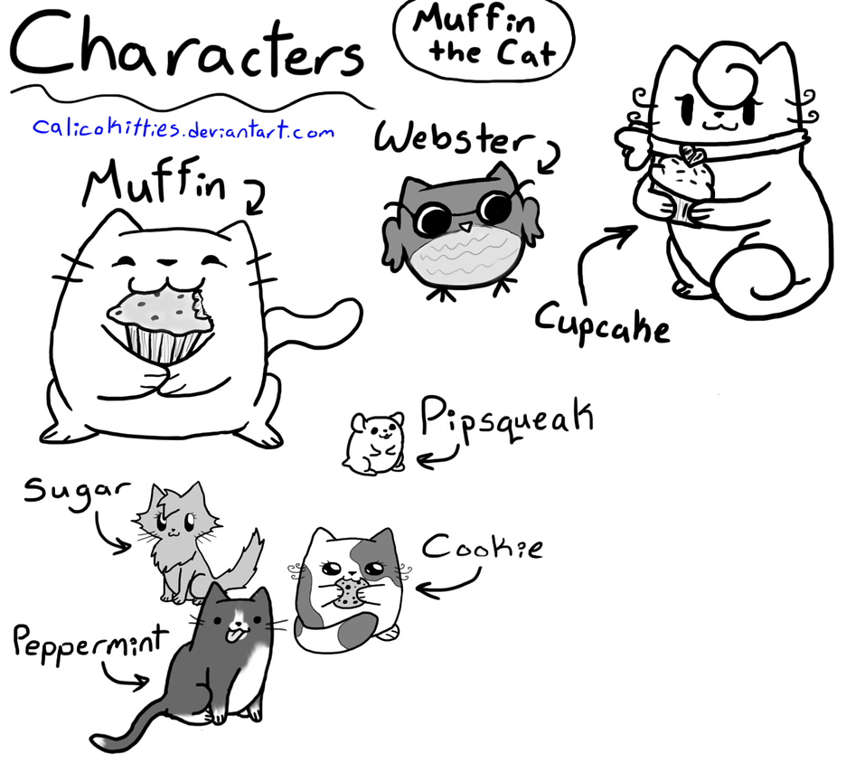 Muffin the cat characters by calicokitties
