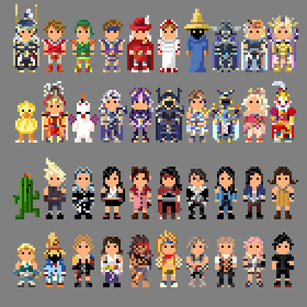 Final Fantasy Characters 8 bit by LustriousCharming on DeviantArt Final Fantasy Rinoa And Squall