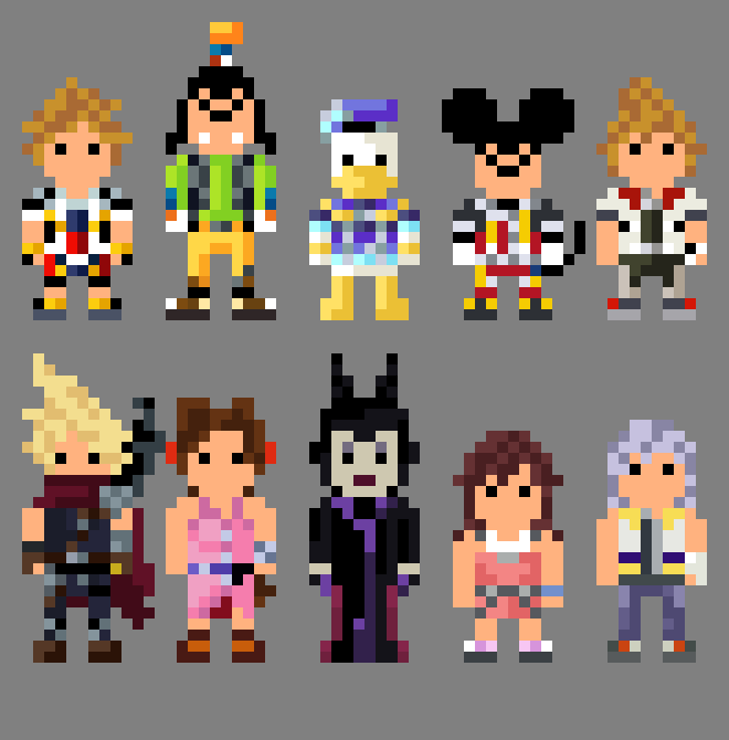 8 Bit Cartoon Characters : Kingdom hearts characters bit by lustriouscharming on