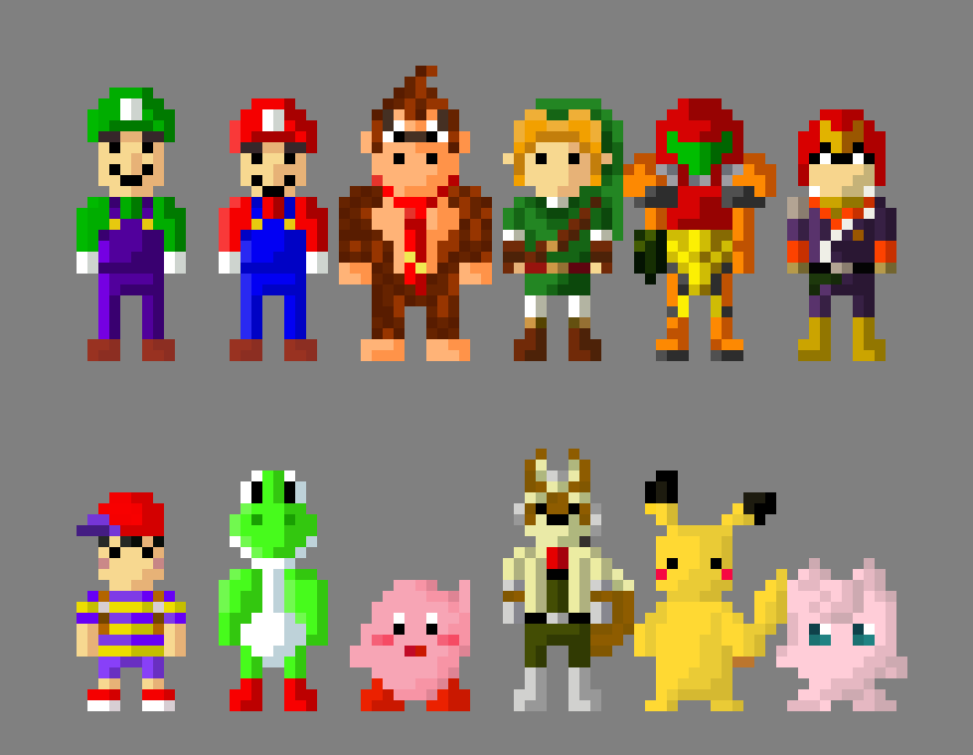 Super Smash Bros N64 Characters 8 Bit by LustriousCharming ...