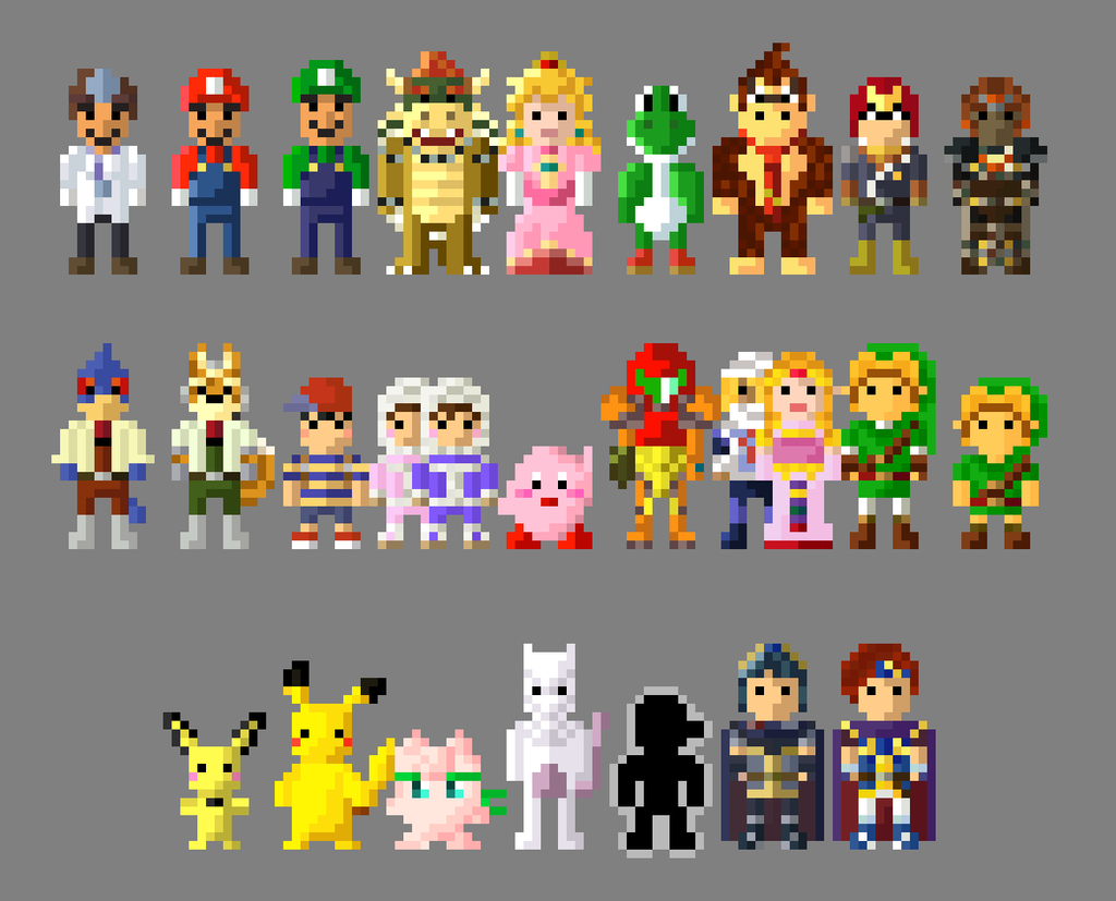 8 Bit Cartoon Characters : Super smash bros melee characters bit by