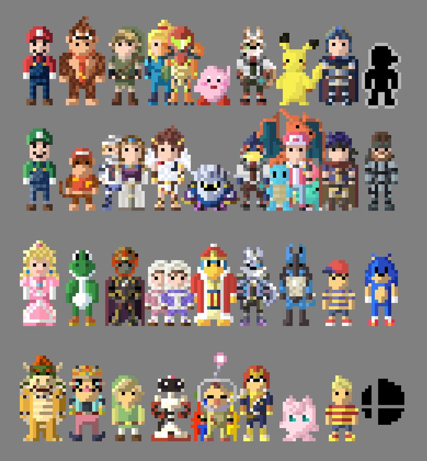 8 Bit Cartoon Characters : Super smash bros brawl characters bit by