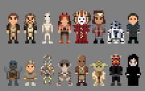 Star Wars Phantom Menace Characters 8 bit by LustriousCharming