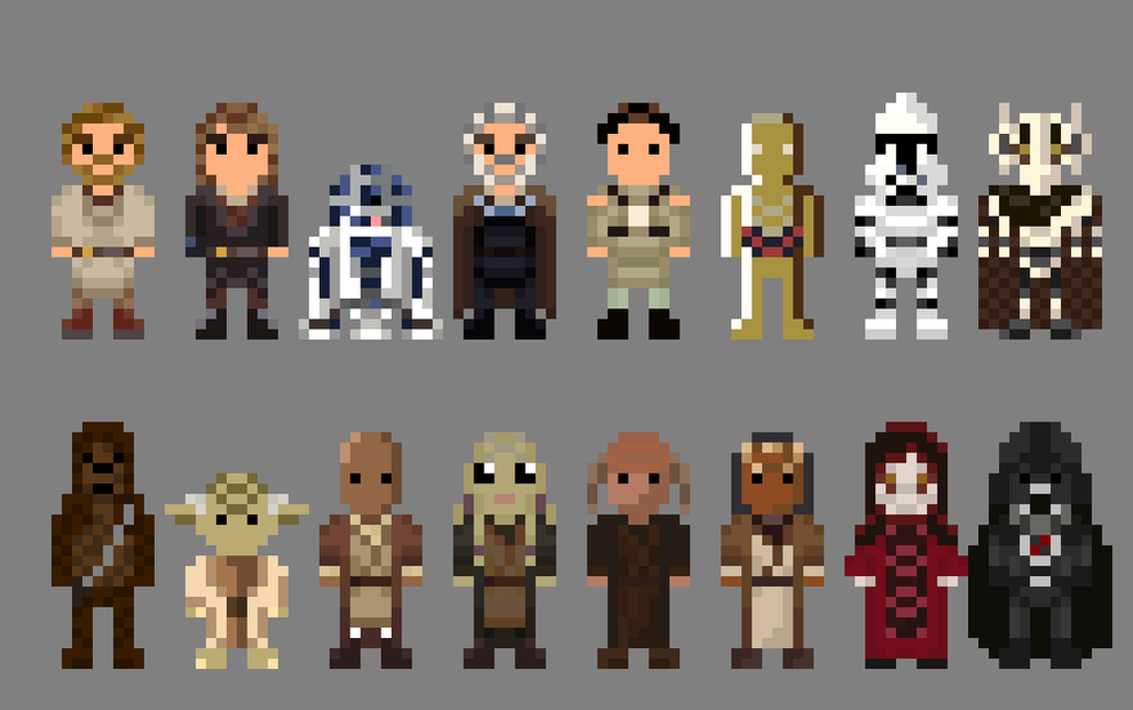 8 Bit Anime Characters : Star wars revenge of the sith characters bit by