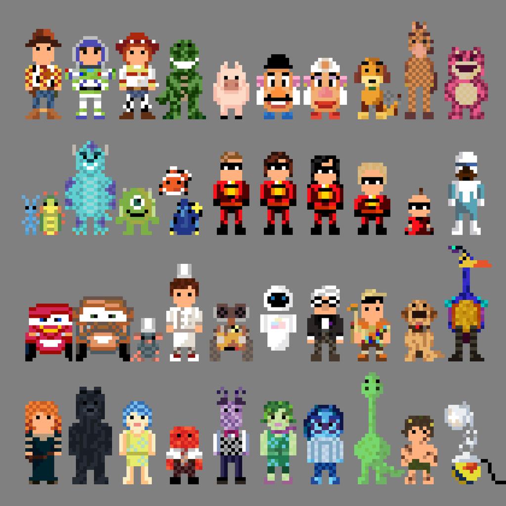 8 Bit Cartoon Characters : Pixar characters bit by lustriouscharming on deviantart