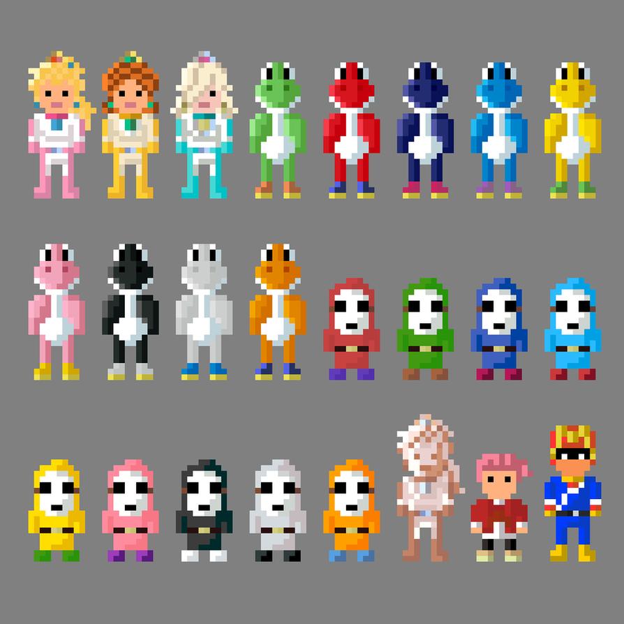 8 Bit Cartoon Characters : Mario kart alternate characters bit by