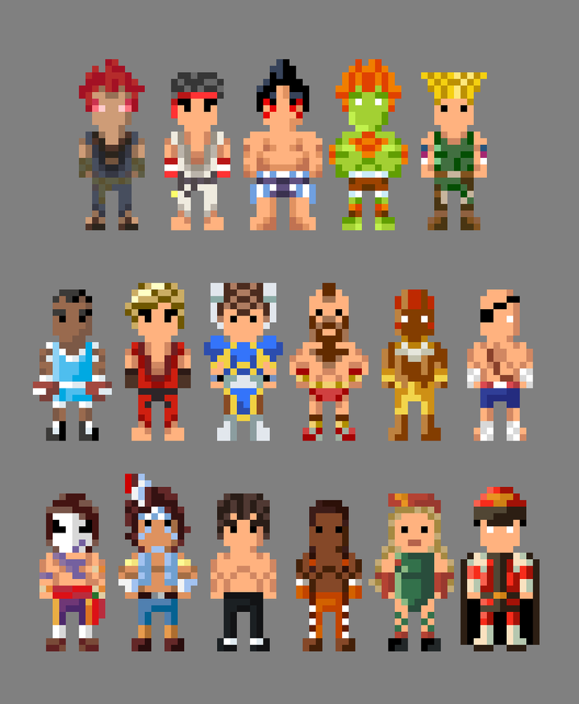 8 Bit Cartoon Characters : Street fighter ii characters bit by lustriouscharming on