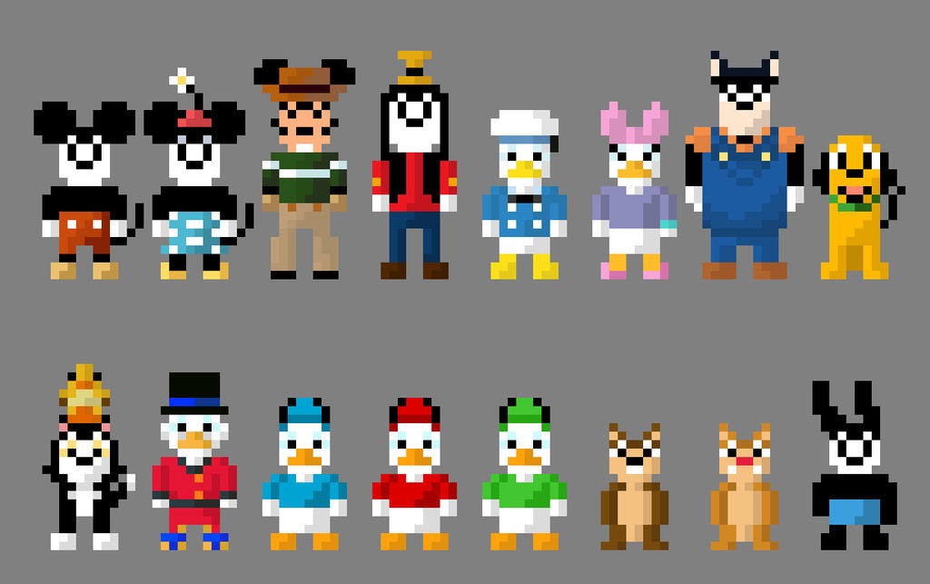 Classic Mickey Mouse Cartoon Characters 8 Bit By