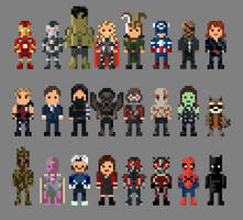 Marvel Cinematic Universe Redux Characters 8 Bit by LustriousCharming