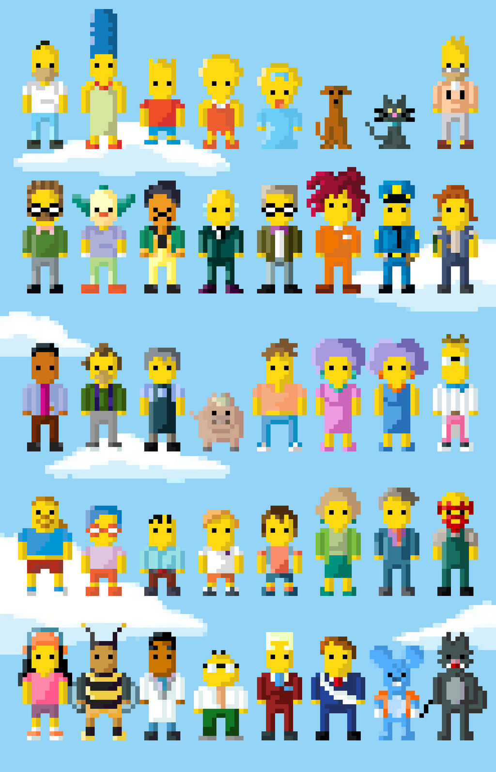 Simpsons Characters 8 Bit Extended By Lustriouscharming On