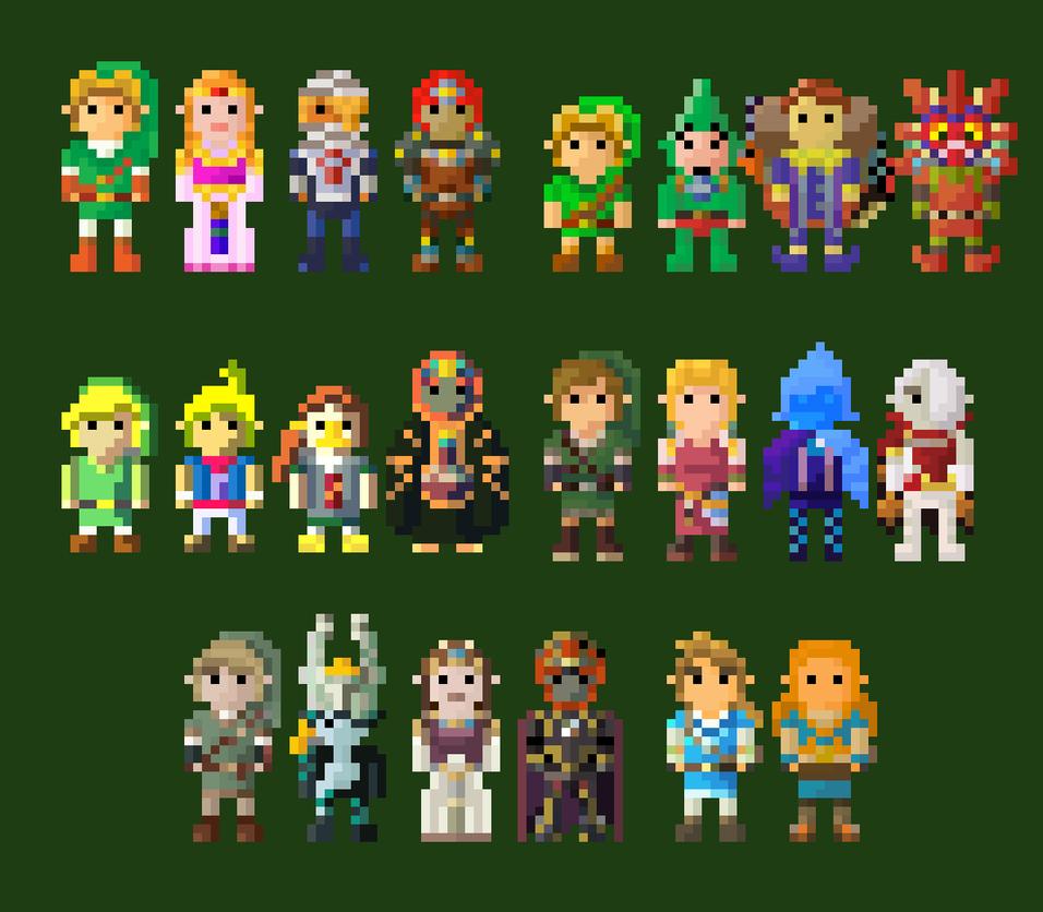 Legend Of Zelda Characters 8 Bit REMASTERED By
