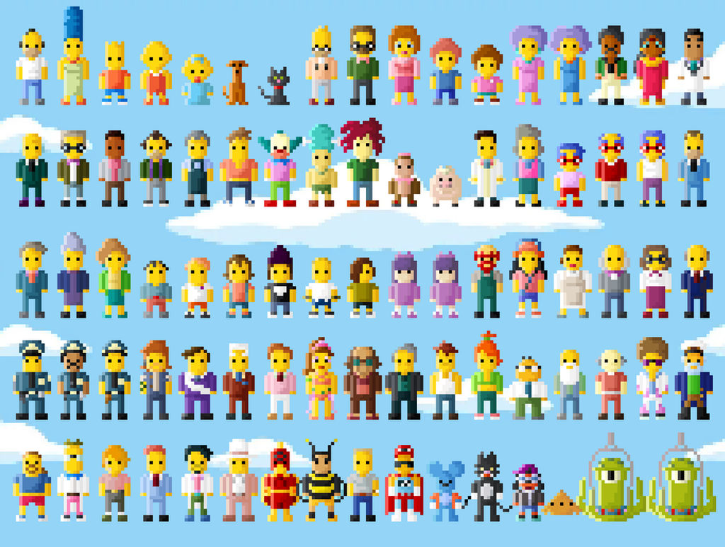 Simpsons Characters 8 Bit Even More Extended By