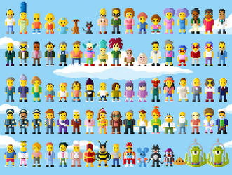 Simpsons Characters 8 Bit EVEN MORE EXTENDED by LustriousCharming