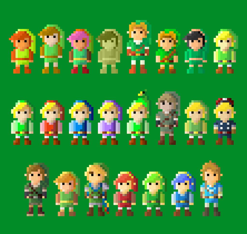 Legend Of Zelda- Evolution Of Link 8 Bit By