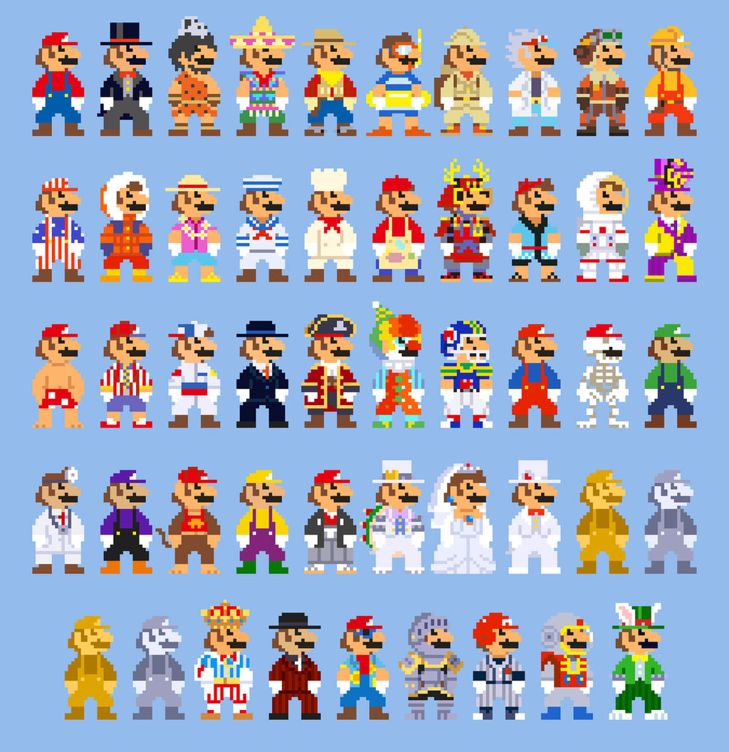 Super Mario Odyssey Costumes 8 Bit Sprites By Lustriouscharming On